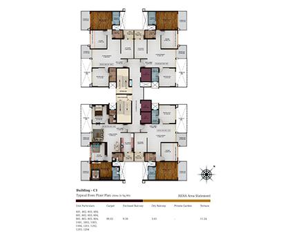 Kolte Patil Tuscan Parkland Building C1-Even Floor