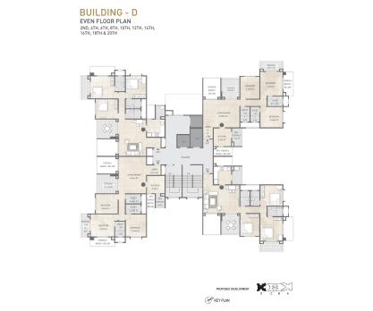 Kolte Patil 24K Sereno BUILDING D-EVEN FLOOR PLAN