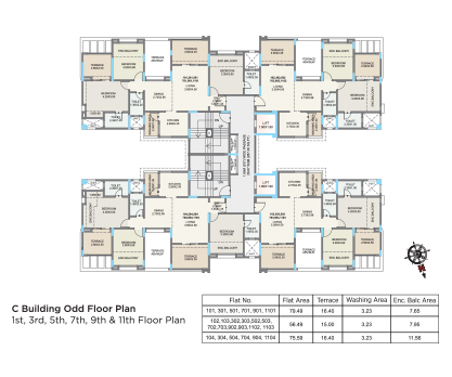 Kolte Patil Green Olive C BUILDING- ODD FLOOR PLAN