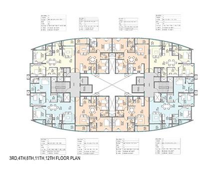Kolte Patil Mirabilis 3rd, 4th, 7th, 8th, 11th, 12th Floor Plan