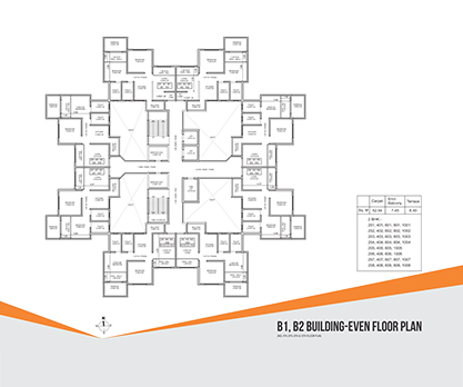 Kolte Patil Umang Premiere B1, B2 Building- Even Floor Plan