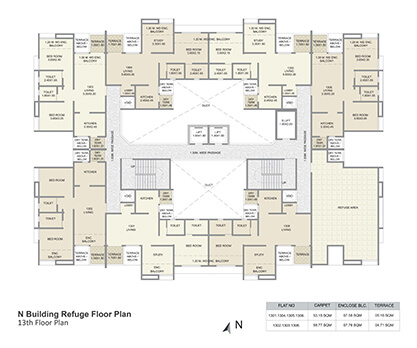 n building refuge floor plan - 13th floor
