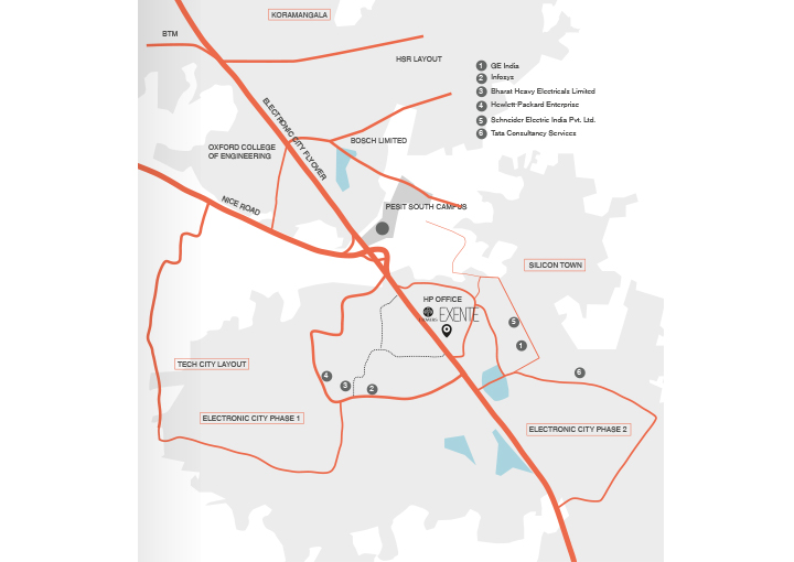 iTowers Exente Electronic City, Bengaluru Location Map