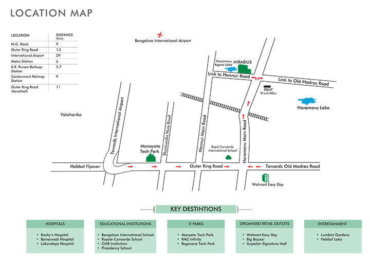 Mirabilis Horamavu Road, Bangalore Location Map