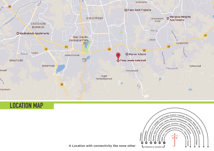 Kolte Patil Three Jewels Moonstone Katraj-Kondwa, Pune Location Map